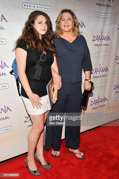 Daughter Rachel Ann Weiss and Kathleen Turner attend the opening night of Cirque Du Soleil Zarkana at Radio City Music Hall on June 29 2011 in New...