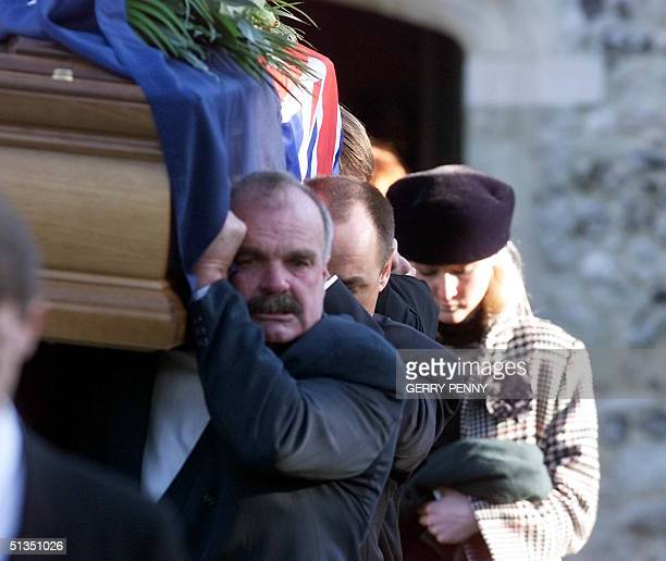 Daughter SarahJane Blake follows the coffin of twice America's Cup winner and round the world yachtsman Sir Peter Blake after the service at the...