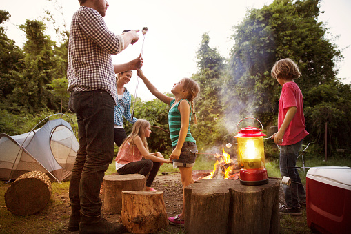 Daughter showing roasted marshmallow to father while enjoying with family at summer camp - gettyimageskorea