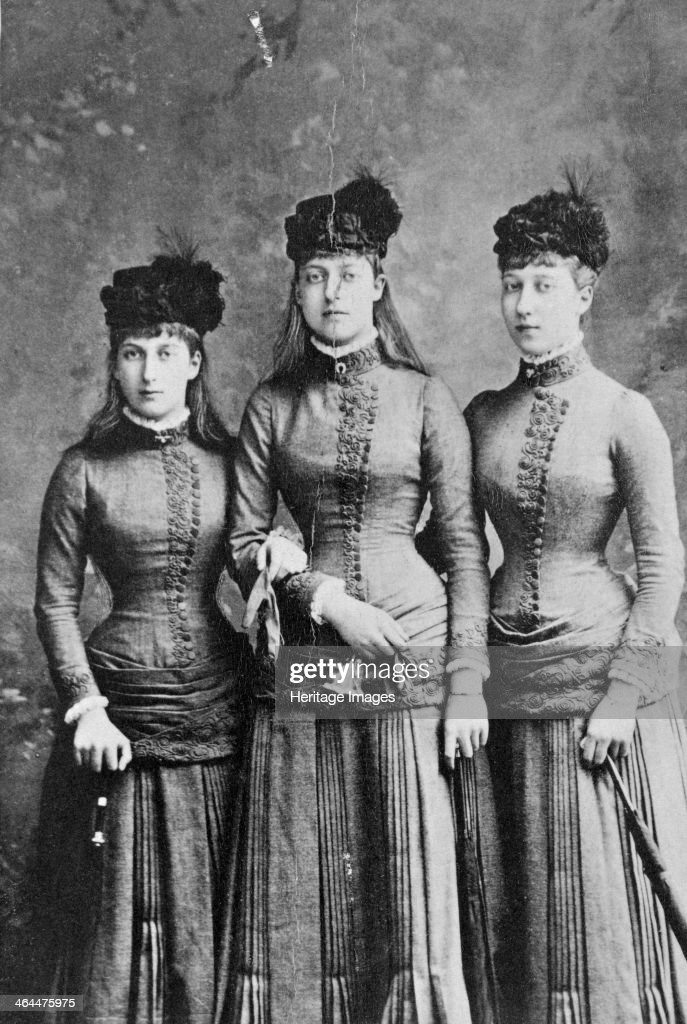 Daughters of King Edward VII; Princess Maud, Louise and Victoria of Wales, 1886. : News Photo