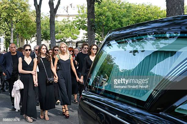 daughters of Nathalie Tatiana Burstein Salome Burstein Lola Burstei and daughter of Sonia Nathalie Rykiel attend the Designer Sonia Rykiel's Funerals...