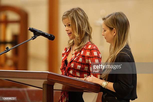 Daughters of of Italian film mogul and Hollywood producer Dino De Laurentiis Dina De Laurentiis and Carolyna De Laurentiis speak during the funeral...