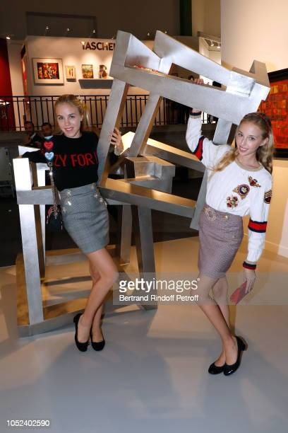 Daughters of Princess Camilla Duchess of Castro and Prince Carlo Duke of Castro attend the FIAC 2018 International Contemporary Art Fair Press...