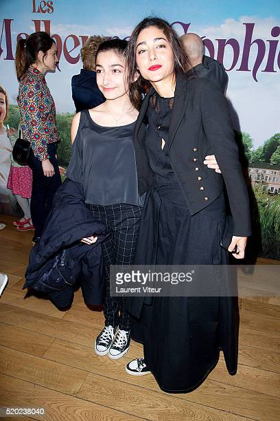 Daugther of JeanClaude Carriere Kiara and Actress Golshifteh Farahani Attend Les Malheurs de Sophie Paris Premiere At Pathe Grenelle on April 10 2016...