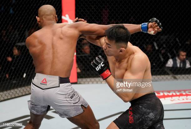 Daun Jung of South Korea knocks out Mike Rodriguez with a straight right in their light heavyweight fight during the UFC Fight Night event at Sajik...