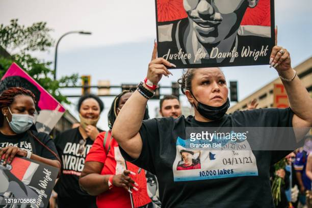 Daunte Wright's mother Katie Wright marches during an inaugural remembrance demonstration for George Floyd on May 23, 2021 in Minneapolis, Minnesota....