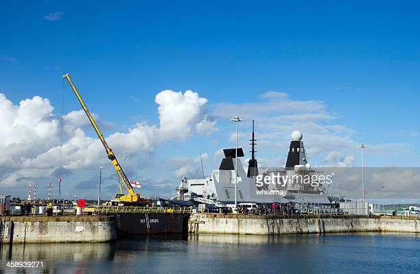 hms dauntless at portsmouth - royal navy stock pictures, royalty-free photos & images