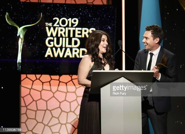 Dava Whisenant and Ozzy Inguanzo winners of Documentary Screenplay speak onstage during the 2019 Writers Guild Awards LA Ceremony at The Beverly...