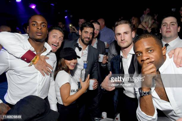 Davante Adams, Kliff Kingsbury, Aaron Rodgers, Corey Linsley attend The 9th Annual Fillies & Stallions Kentucky Derby party hosted by Black Rock...