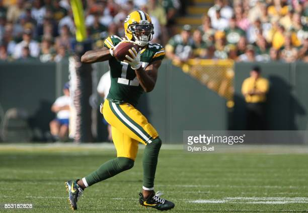 Davante Adams of the Green Bay Packers catches a pass during the second quarter against the Cincinnati Bengals at Lambeau Field on September 24 2017...
