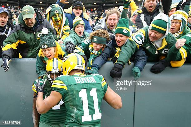 Davante Adams of the Green Bay Packers celebrates after scoring a touchdown against the Dallas Cowboys in the third quarter during the 2015 NFC...