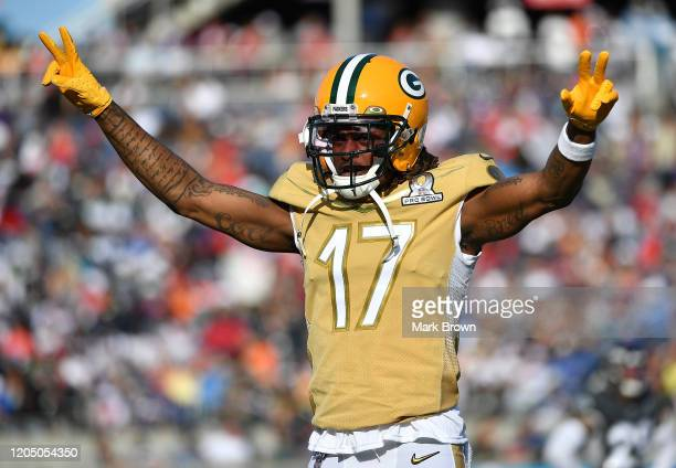 Davante Adams of the Green Bay Packers celebrates during the 2020 NFL Pro Bowl at Camping World Stadium on January 26 2020 in Orlando Florida