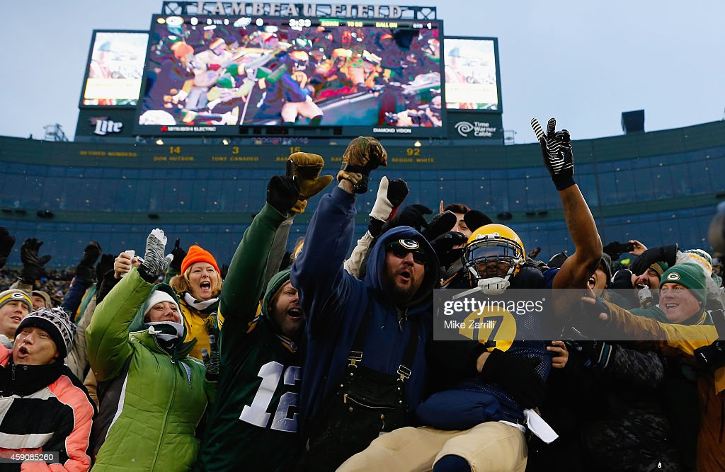 Davante Adams #17 of the Green Bay Packers celebrates his touchdown against the Philadelphia Eagles with fans during the first quarter of the game at Lambeau Field on November 16, 2014 in Green Bay, Wisconsin.