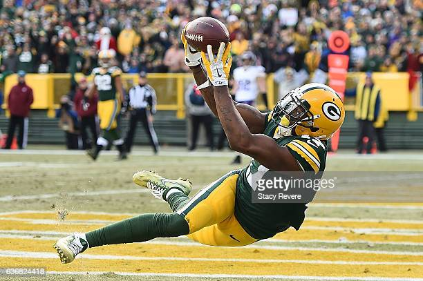 Davante Adams of the Green Bay Packers is unable to catch a pass during the second half of a game against the Minnesota Vikings at Lambeau Field on...