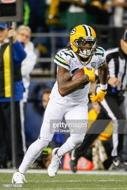 Davante Adams of the Green Bay Packers runs after a catch in the first half against the Seattle Seahawks at CenturyLink Field on November 15 2018 in...