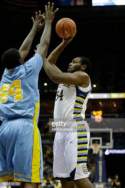 Davante Gardner of the Marquette Golden Eagles pulls up for a two pointer in the first half of action against the Southern Jaguars at BMO Harris...
