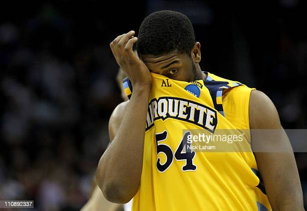 Davante Gardner of the Marquette Golden Eagles reacts after their loss against the North Carolina Tar Heels during the east regional semifinal of the...