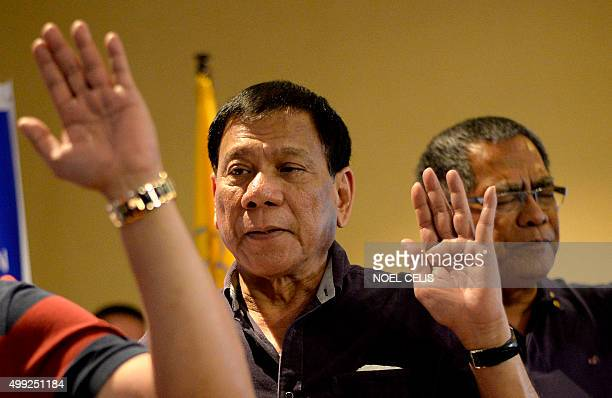 Davao mayor Rodrigo Duterte is officially declared as the presidential candidate of the PDPLaban political party at a hotel in Manila on November 30...
