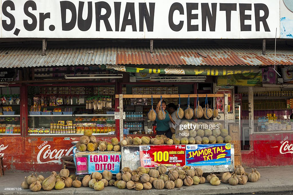 Davao, Philippines: Durian stall : Stock Photo