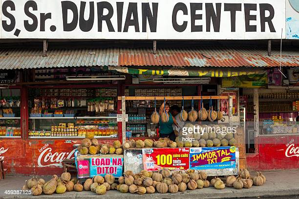 davao, philippines: durian stall - davao city stock photos and pictures