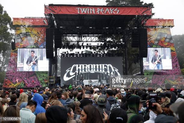 Dave 1 and PThugg of Chromeo perform on the Twin Peaks Stage during the 2018 Outside Lands Music And Arts Festival at Golden Gate Park on August 12...