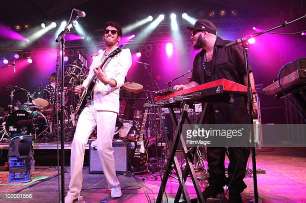 Dave 1 and PThugg perform onstage with Daryl Hall of Chromeo onstage during Bonnaroo 2010 at The Other Tent on June 11 2010 in Manchester Tennessee