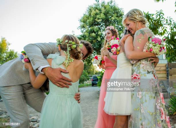 Dave Abrams Fiona Facinelli Lola Facinelli Luca Facinelli and Jennie Garth are seen at their wedding at a private residence July 11 2015 in Santa...