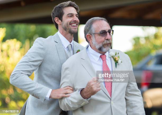 Dave Abrams is seen with his father before his wedding to Jennie Garth at a private residence July 11 2015 in Santa Ynez California
