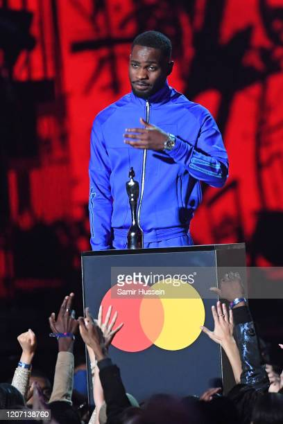 Dave accepts the Mastercard Album of The Year during The BRIT Awards 2020 at The O2 Arena on February 18 2020 in London England