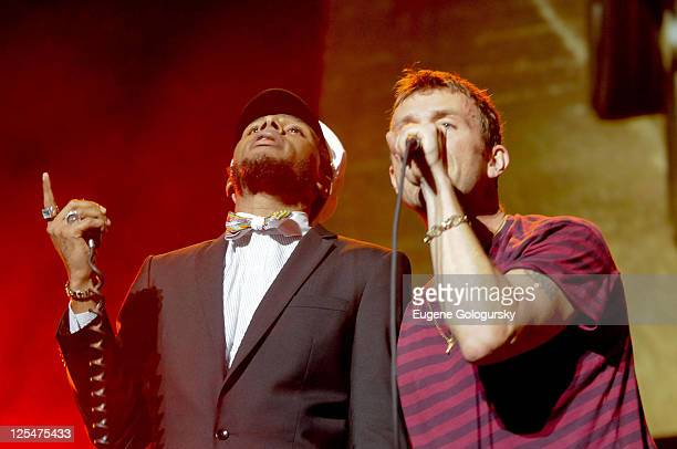 Dave Albarn and Mos Def perform in concert at Madison Square Garden on October 8 2010 in New York City