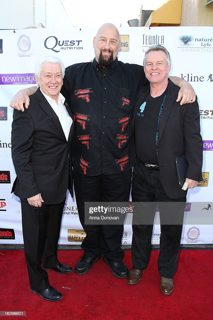 Dave Alspach, Scott L. Schwartz and John Duffy attends the Los Angeles premiere of the movie 'Changing Hands' at The Happy Ending Bar & Restaurant on February 24, 2013 in Hollywood, California.