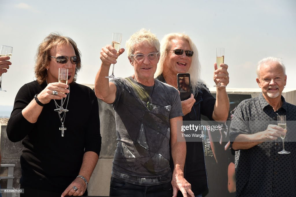 Dave Amato, Kevin Cronin, Bryan Hitt and Neal Doughty attend REO Speedwagon Receives RIAA Diamond Award For 'Hi Infidelity' at Sony Music on August 17, 2017 in New York City.