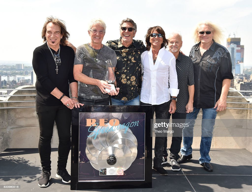 Dave Amato, Kevin Cronin, Mark Goodman, Bryan Hitt, Neal Doughty and Bruce Hall attend REO Speedwagon Receives RIAA Diamond Award For 'Hi Infidelity' at Sony Music on August 17, 2017 in New York City.