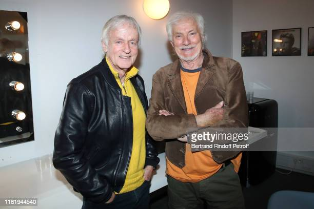 Dave and Hugues Aufray pose after Hugues Aufray performed at Salle Pleyel on October 18 2019 in Paris France