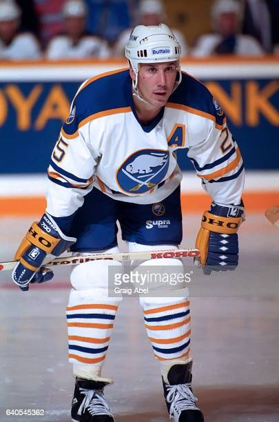 Dave Andreychuk of the Buffalo Sabres prepares for the faceoff against the Toronto Maple Leafs during NHL preseason game action on September 30 1992...