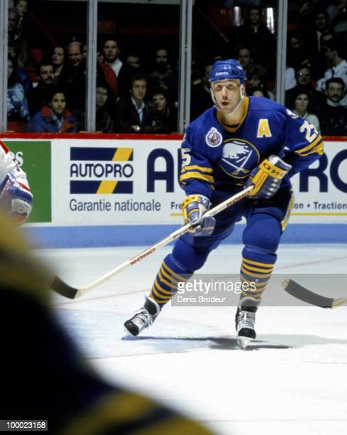 Dave Andreychuk of the Buffalo Sabres skates against the Montreal Canadiens in the late 1993 at the Montreal Forum in Montreal Quebec Canada