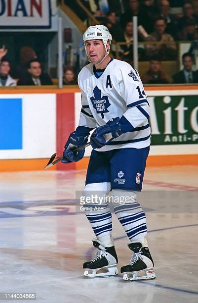 Dave Andreychuk of the Toronto Maple Leafs skates against the Detroit Red Wings during NHL game action on February 20 1995 at Maple Leaf Gardens in...