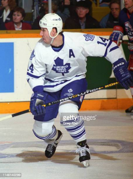 Dave Andreychuk of the Toronto Maple Leafs skates against the Winnipeg Jets during NHL game action on February 25 1995 at Maple Leaf Gardens in...
