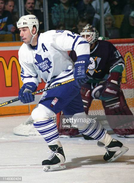 Dave Andreychuk of the Toronto Maple Leafs skates against the Mighty Ducks of Anaheim during NHL game action on February 23 at Maple Leaf Gardens in...