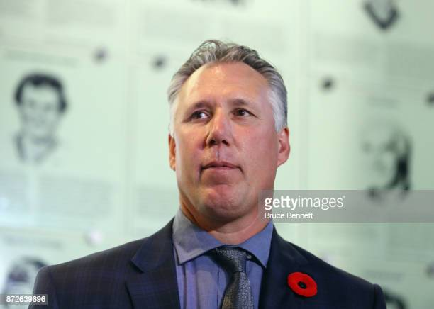 Dave Andreychuk takes part in a media opportunity at the Hockey Hall Of Fame and Museum on November 10 2017 in Toronto Canada