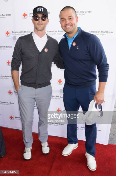 Dave Annable and Nick Swisher attend the Red Cross' 5th Annual Celebrity Golf Tournament at Lakeside Golf Club on April 16, 2018 in Burbank,...
