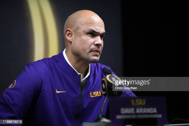 Dave Aranda of the LSU Tigers attends media day for the College Football Playoff National Championship on January 11 2020 in New Orleans Louisiana