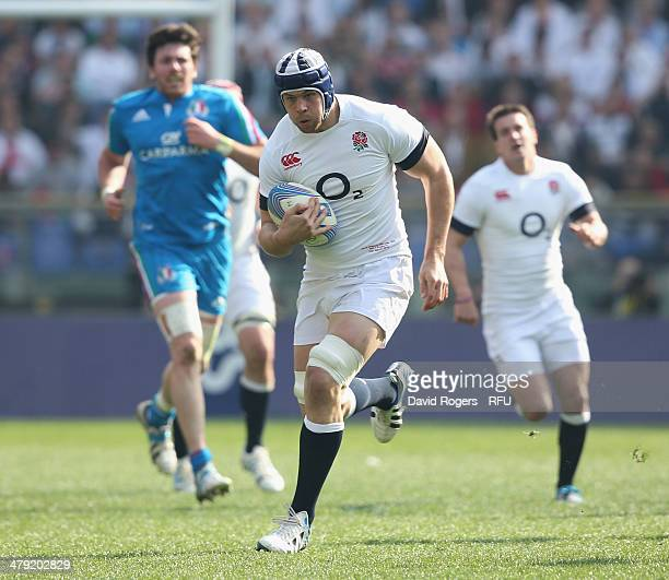 Dave Attwood of England breaks with the ball during the RBS Six Nations match between Italy and England at the Stadio Olimpico on March 15 2014 in...