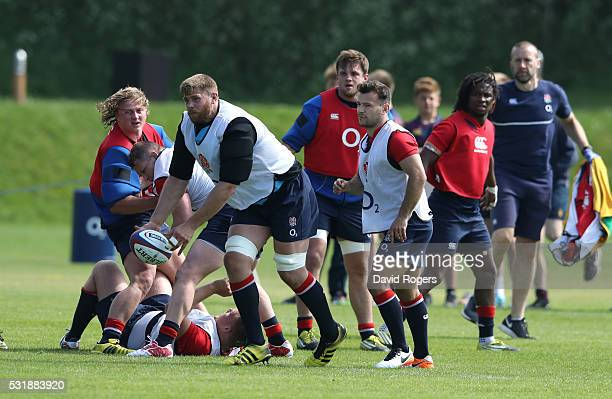Dave Attwood passes the ball during the England training session held at Brighton College on May 17 2016 in Brighton England