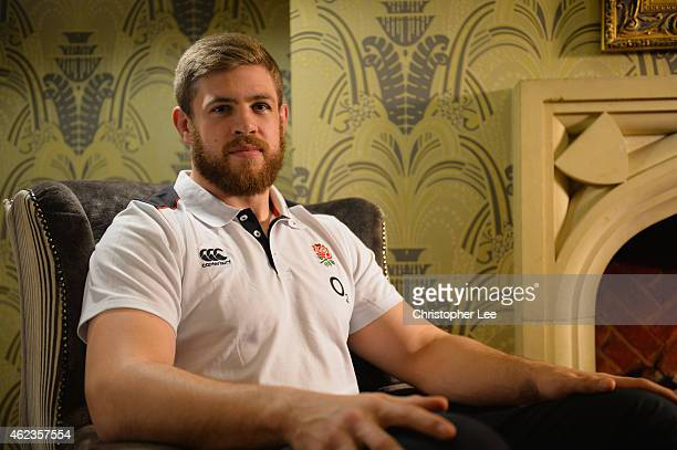 Dave Attwood poses for the camera during the England Rugby Training Session at Pennyhill Park on January 27 2015 in Bagshot England