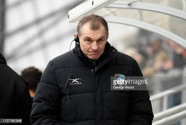 Dave Baldwin coach of Yorkshire Carnegie looks on during the Championship Cup match between Yorkshire Carnegie and Bedford Blues at Headingley...