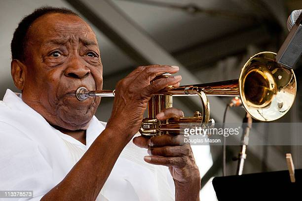 Dave Bartholomew performs at the 2011 New Orleans Jazz & Heritage Festival presented by Shell at the Fair Grounds Race Course on May 1, 2011 in New...