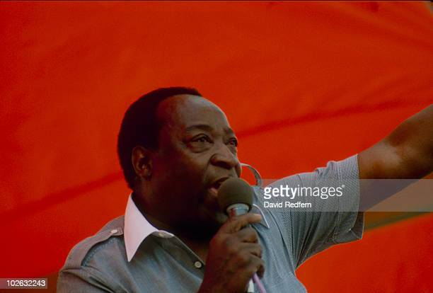 Dave Bartholomew performs on stage at the New Orleans Jazz and Heritage Festival in New Orleans, Louisiana in May 1983.