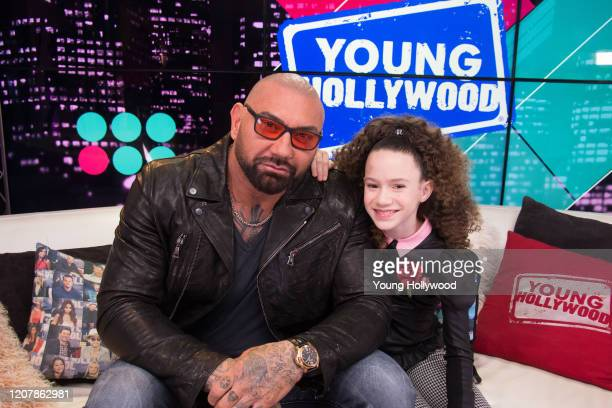 Dave Bautista and Chloe Coleman at the Young Hollywood Studio on February 21 2020 in Los Angeles California