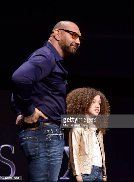 Dave Bautista and Chloe Coleman speak onstage at CinemaCon 2019 The State of the Industry and STXfilms Presentation at The Colosseum at Caesars...